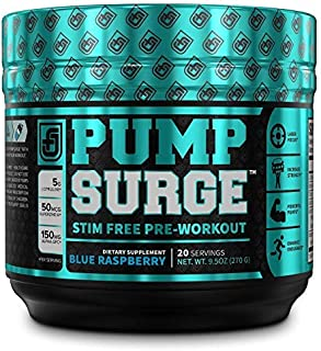 PUMPSURGE Caffeine Free Pump & Nootropic Pre Workout Supplement - Non Stimulant Preworkout Powder & Nitric Oxide Booster -...