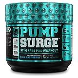 PUMPSURGE Caffeine Free Pump & Nootropic Pre Workout Supplement - Non Stimulant Preworkout Powder &...