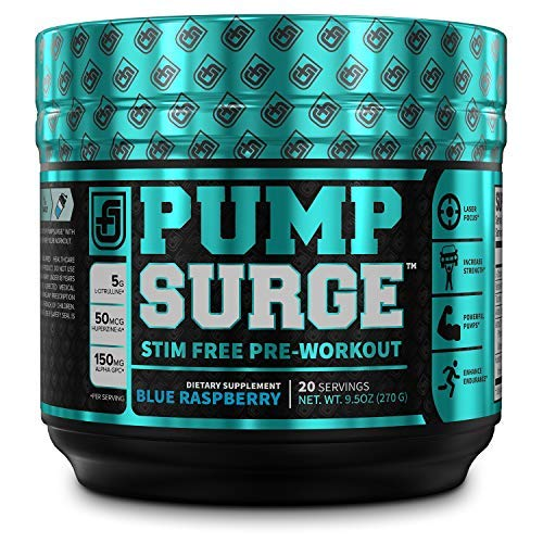 PUMPSURGE Caffeine Free Pump & Nootropic Pre Workout Supplement - Non Stimulant Preworkout Powder & Nitric Oxide Booster - 20 Servings, Blue Raspberry Flavor