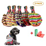TVMALL Pañales para Perros Pantalones Sanitarios Lavables Reutilizables con Mascotas Perros Fisiológicos para Gatos de Perros Solución Sanitaria para la Incontinencia de Mascotas - 2 Paquetes