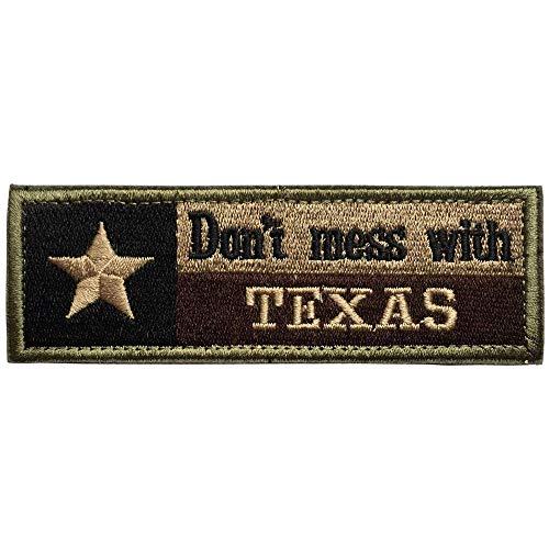 Don\'t Mess with Texas State Flag Military Tactical Morale Desert Badge Stickerei Patch Premium bestickt USA Flagge für Rucksäcke Mützen Jacken Hosen Armee Uniform Embleme Größe 11,4 x 3,8 cm mit H