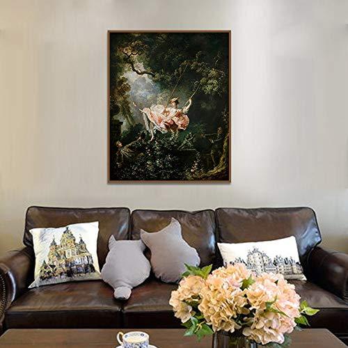 WLEYYY Schilderij Kunstschilden en gravures op een schommel Wanddecoratie Canvas Schilderij Abstracte decoratie 50cmx70cm No Framed PC 1