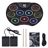 LIfav Batería Electrónica, Tamaño Compacto Roll-Up Drum Set Electronic Drum Kit 9 Tambor Almohadillas De Silicona USB/con Pilas, con Baquetas Pedales para Niños