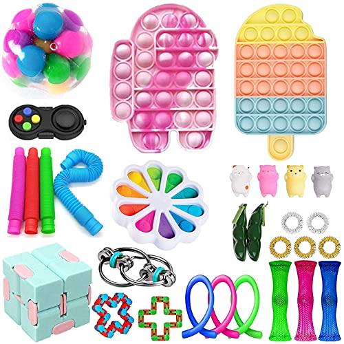 Sensorische Fidget Spielzeug-Satz für Kinder oder Erwachsene Fidget Toys Pack Hand Spielzeug Stress Angst Relief Spielzeug Set für ADHS (Toy Set A2)