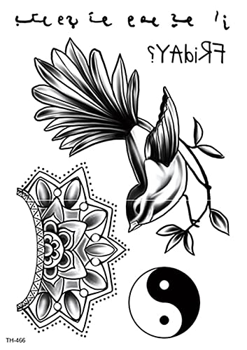 Mapa Flor Pjaro Blanco Y Negro 15X21cm-5Pcs Lote De Tatuajes Temporales De Moda Tatuajes A Prueba De Agua Pegatinas De Papel Y Arte Corporal Boceto Negro Realista