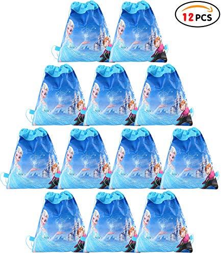 Qemsele Bolsa Mochilas Bolsas de cumpleaños, 12Pcs Tema Reutilizable Bolsas de Fiesta cordón Mochila Bolsas para cumpleaños niños la Fiesta favorece la Bolsa, Rellenos Bolsas Fiesta (Frozen)