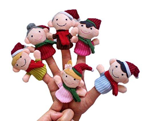 Happy Cherry Weinachten Fingerpuppen Set Niedlich Style Familiemitglieder Rollenspiele Handpuppe Plüsch Spielzeug für Kinder Frühre Bildung (6 Kasperletheater)