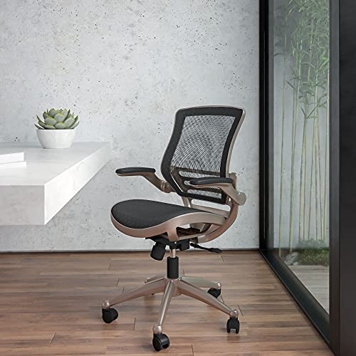 Flash Furniture Mid-Back Transparent Black Mesh Executive Swivel Office Chair with Melrose Gold Frame and Flip-Up Arms, BIFMA Certified