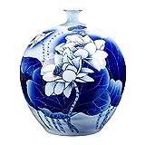 GST Jarrones Decorativos Chino Simple Retro y Blanco florero de Porcelana Azul y Blanco, Adornos de cerámica, Sala de Estar decoración para el hogar Porcelana