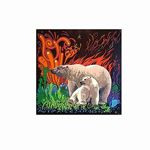 Zgzkmwsss Arte nórdico Pintura al óleo Abstracta Animales Salvajes Oso Grande Lienzo Pintura al óleo Carteles e Impresiones Dormitorio Familiar decoración de la Pared 80x80 cm sin Marco