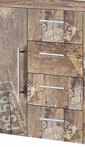 Kommode, Anrichte, Sideboard, Schubkastenkommode, Schubladenkommode Panamaeiche, Vitage, B/H/T ca. 127/83/35 cm - 2