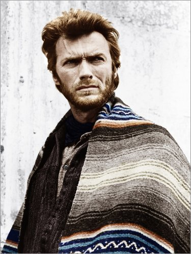 Posterlounge Cuadro de Madera 70 x 90 cm: Clint Eastwood with a Poncho de Everett Collection