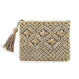 Mdsfe Lady Women Summer Lovely Retro Straw Knitted Handbag para Key Money Beach BagCoin Purse Card Clutch Bag-Coffee, A4