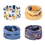 CNNIK Multiuso Sciarpa per Bambini, 4 Pezzi Cappello del Cotone Sciarpa O-Scaldacollo Loop per Bambini Piccoli Ragazze e Ragazzi, Fazzoletto da Collo Bandana Multiuso