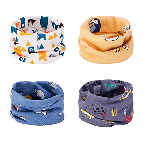 CNNIK Kinder Schals, 4 Stück Baumwolle O Ring Neck Warmer für Kleinkinder Jungen Mädchen, Mehrzweck Loop Halstuch Schals Bandana