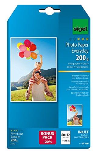 Preisvergleich Produktbild SIGEL IP719 InkJet Fotopapier 10x15 cm,  60 + 12 Blatt gratis,  hochglänzend,  weiß,  200 g