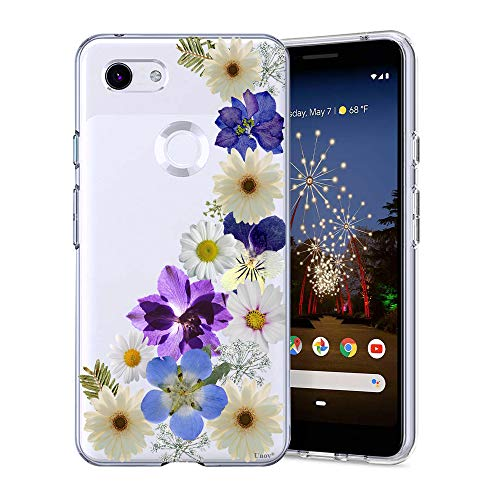 Unov Pixel 3a Case Clear with Design Soft TPU Shock Absorption Slim Embossed Floral Pattern Protective Back Cover for Pixel 3a 5.6 inch (Flower Blossom)