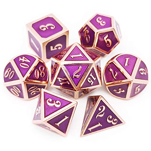 Haxtec Copper Purple Metal Dice Set 7 Die DND Dice for Dungeons and Dragons Games-Glossy Enamel Dice (Copper Purple)