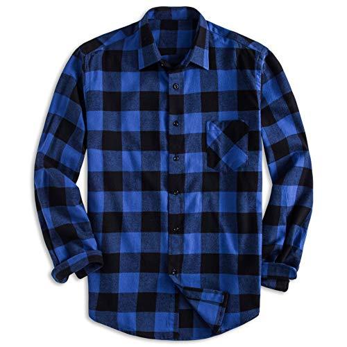 PIZZ ANNU Herren 100% Baumwolle Langarm Kariertes Fleecehemd Button Up Flanellhemd (XL, DTF04)