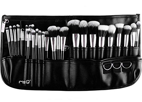 MSQ Make-up Pinsel Set 29pcs professionelle Make-up Pinsel mit Luxeriöser Leder Tasche, Foundation Pinsel, Puder Pinsel, Augen Pinsel, Lip Pinsel, Concealer Pinsel - Silber & Schwarz