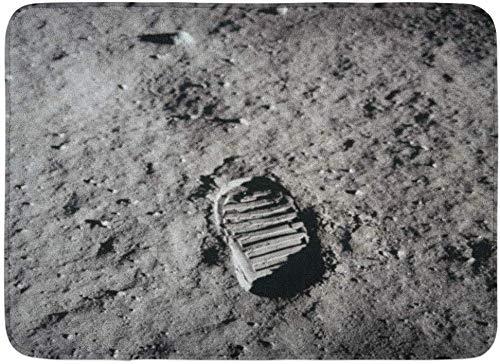 AoLismini Zerbini Tappeti da Bagno Tappetino per Porte Esterno/Interno Impronta Apollo 11 Boot The Moon 20 luglio 1969 1960S NASA Spazio lunare Bagno Decor Tappeto Tappetino da Bagno