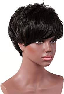 TongLingUSL Short Cut Bob Synthetic Wigs for Women Heat Resistant Costume African American Wigs with Side Bangs Natural Black