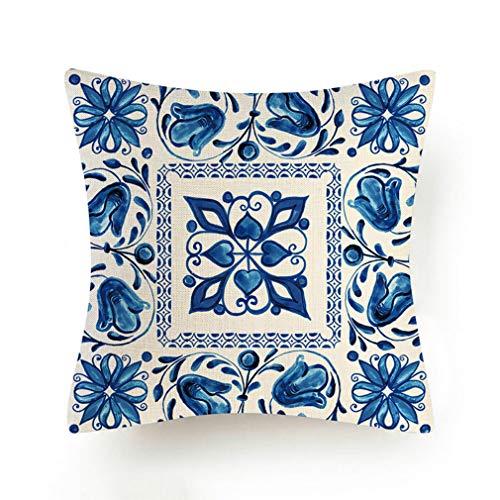 Treesky 4 fundas de cojín bohemio, color azul, fundas de cojín decorativas para sofá, para sala de estar, dormitorio, 45 x 45 cm.