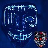 Halloween Led Light Up Devil Mask, Led Purge Mask, Bleach Death Led Mask Venom Scary EL Wire Light up Mask Led Costume Mask (Blue Light)