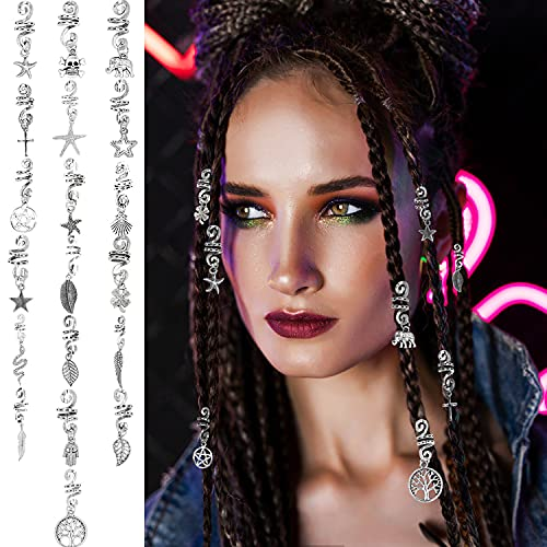 19 Pieces Alloy Spiral Hair Coil Dreadlocks Braid Metal Ancient Silver Spring Hair Pendants Jewelry Decoration Accessories for Woman Hair Ornament Multiple Styles