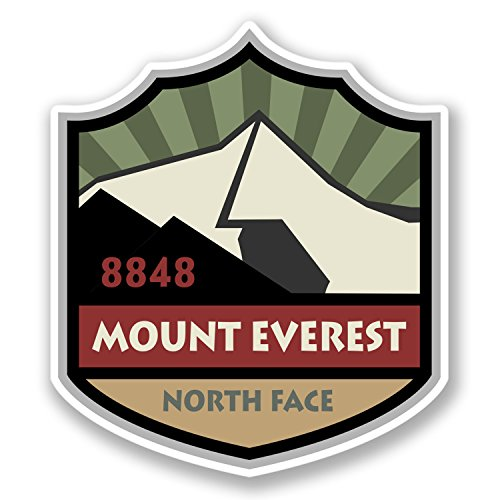 2 x Mount Everest Sticker Car Bike Bike Laptop Travel Luggage Mountain Fun #4282 (8.8cm Wide x 10cm Tall)