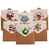 Gxhong 12 Cartes de Noël avec Enveloppes en papier kraft et Autocollants Cartes-Cadeaux de Voeux Joyeux Noël, Meilleur Vœux pour Noël Anniversaire Fête Festival