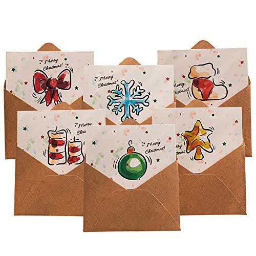 Gxhong Biglietti di Natale 12 Cartolina di Auguri con Buste e Adesivi, Retrò Carta Kraft Buste Cartoline Invito Vuote Cartoncini Augurali per Matrimonio, Compleanno