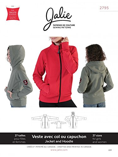 Jalie Schnittmuster 2795 für Damen und Kinder, mit Reißverschluss vorne, Jacke und Kapuzenpullover