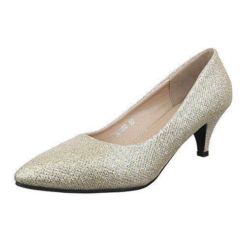 Damen Schuhe, 56080, Pumps, Glitter, Synthetik, Gold, Gr 38