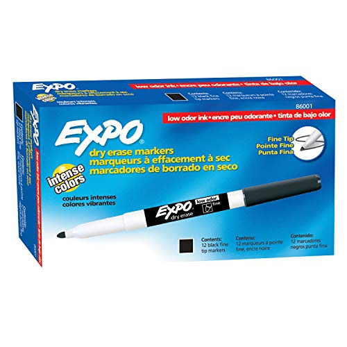 Expo Low Odor Fine Tip Dry Erase Markers, 12 Black Markers (86001)