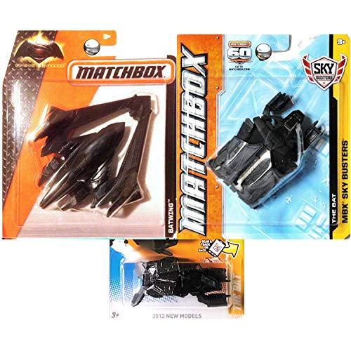 Matchbox Sky Busters The Bat and Batwing Plane Flyer Ship with Bonus Bat Set of 3