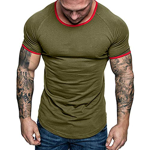Shirt Deportiva Hombre Manga Corta Verano Cuello Redondo Empalme Hombre Shirt Ocio Moda Básica Cómoda Hombre T-Shirt Elástica Y Transpirable Hombre Shirt C-Green S