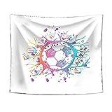 Tapiz Pared de Creativo, Morbuy Estampado de Fútbol 3D Decoración Tapices Tapicería Cubierta del Sofa Manteles Cortina Picnic Blanket Playa Accesorio Casero (Doodle de fútbol,150x130cm)
