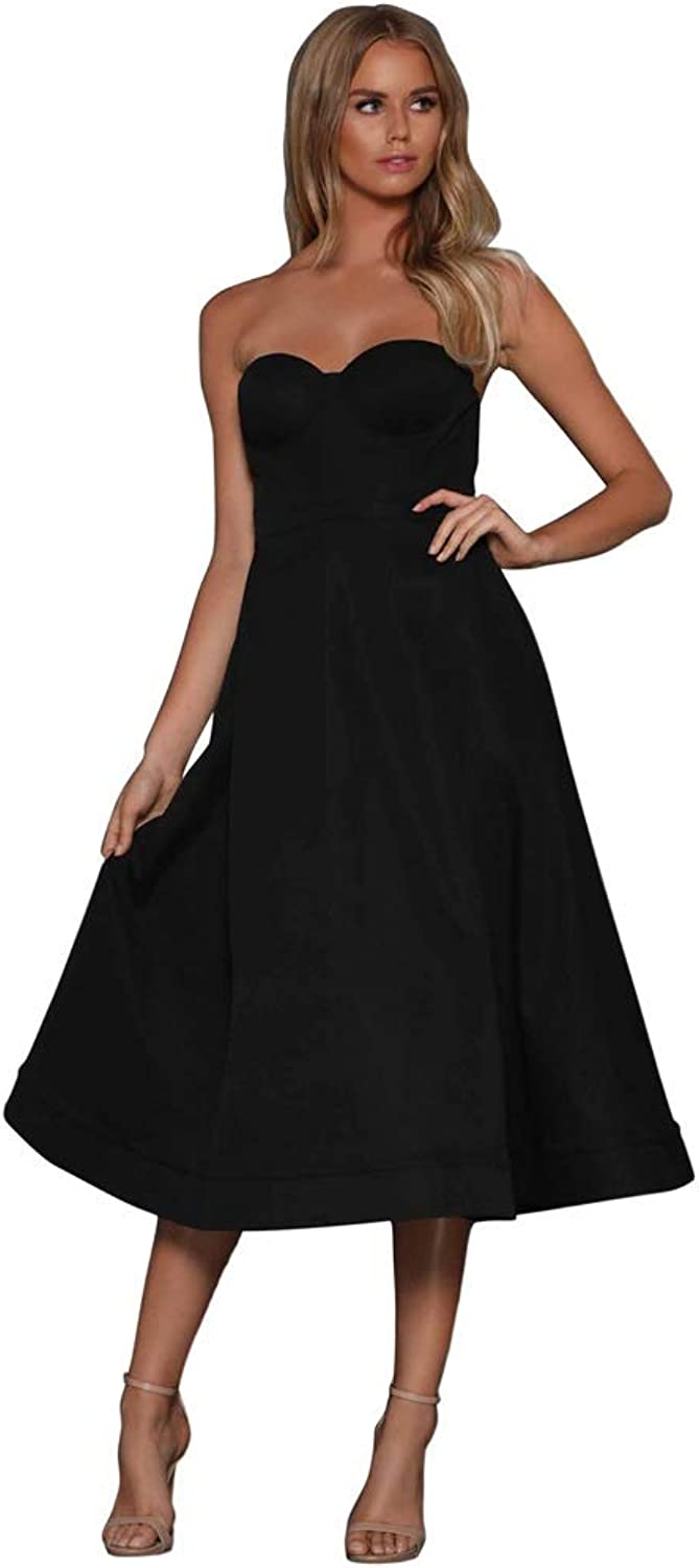 Women Dress Strapless Shoulder Mini Party Evening Cocktail Dress Casual Daily Popular Holiday (color   Black, Size   M)