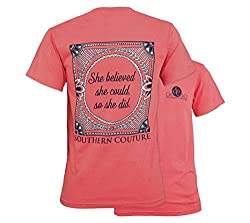 Southern Couture Comfort She Believed She Could Womens Inspirational T-Shirt - Watermelon