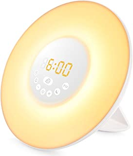 Diyife Wake Up Light Despertador Luz, Luces Despertador con Simulación de Amanecer y Atardece, Función Snooze, Radio FM, 7 Luces de Colores y 6 Sonidos Naturales [Clase de eficiencia energética A]