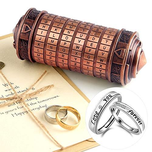 TUPARKA 5 Pezzi Codice da Vinci Mini Cryptex Valentine's Day Interessanti Regali di Compleanno romantici creativi per lei (Colore Bronzo Rosso)
