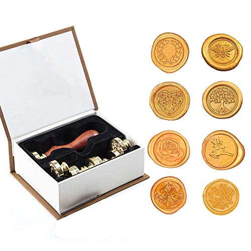 Wachssiegel-Stempel-Set im Vintage-Stil, mit Geschenkbox, 1 Holzgriff + 8 austauschbare abnehmbare Messingkopf-Siegelstempel.