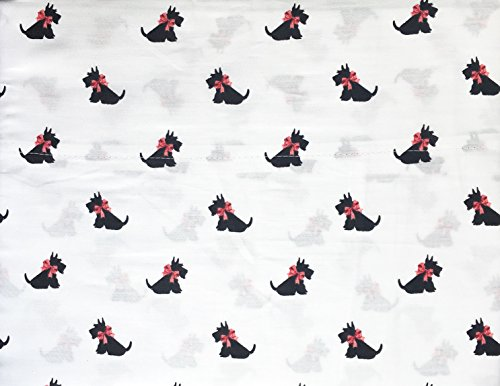 Kids Sheet Set, Holiday Scotty Dogs, Black with Pink Ribbon Bows on White, 3 Piece Twin Size Single Bed, 100% Cotton, Queenwest Trading Company