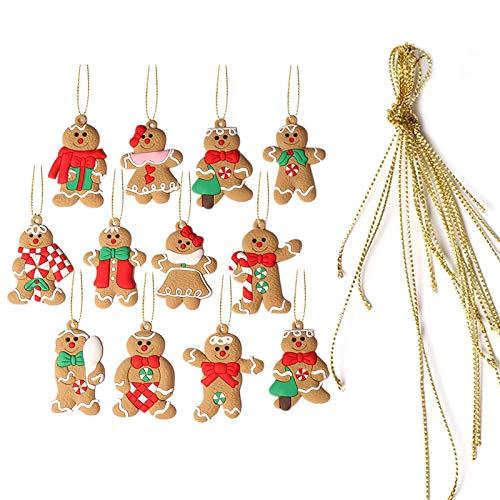 precauti 12 Uds Adorno de Hombre de Jengibre Adorable Hombre de Galletas Colgantes Colgantes para decoración de árbol de Navidad Suministros de decoración de Vacaciones