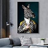 N/A Cuadro en lienzo impreso pintura decorativa cabeza de cebra y cuerpo humano, imagen abstracta, lienzo para pared para salón, decoración del hogar (50 cm x 70 cm, 20 x 28 pulgadas)