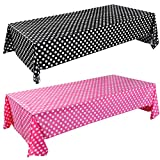 2 Pieces Polka Dot Tablecloth Polka Dot Plastic Tablecloth Pink and Black Polka Dot Plastic Tablecloth 54 x 108 Inch Polka Dot Table Cover for Party Decorations