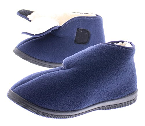 Gold Toe Womens Wide Adjustable Strap Orthopedic Wrap Slipper Bootie Memory Foam House Shoes Navy 7M