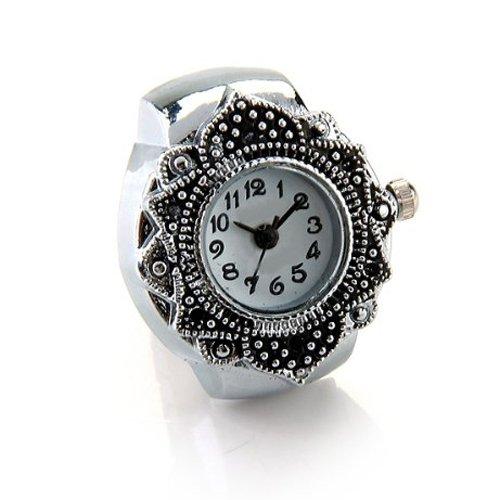Gleader Anillo Reloj Tibet Plata Forma Flor Ajustable Nuevo 22mm