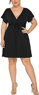 LAVANACE - Mini vestido sexy para mujer, talla grande, cuello en V, manga corta, con corbata